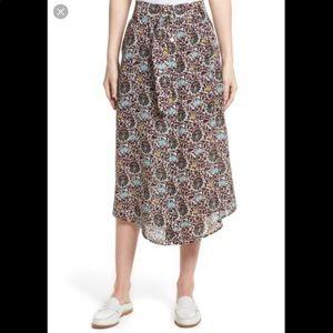 A.L.C. Divya Silk Belted Retro Floral Midi Skirt
